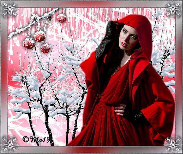 Hiver .. rouge  ... belle image chez Maryse