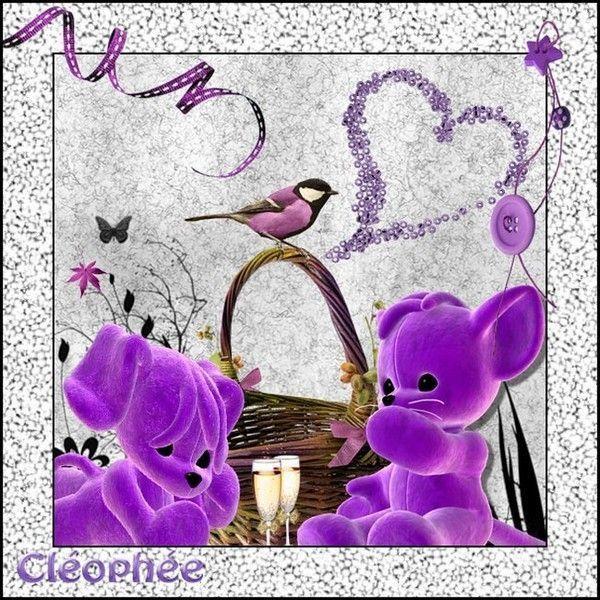 Mauve .. Violet .. Belle image Tendresse chez ma popine Cléo