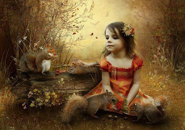 Ecureuil  et fillette  ... Belle image