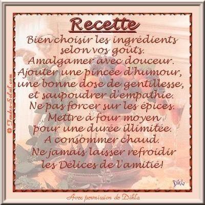 Amitié  ...  recette